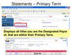 statements primary term