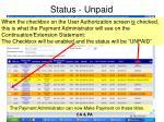 status unpaid