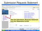 submission requests statement