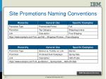 site promotions naming conventions