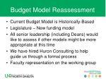 budget model reassessment