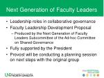 next generation of faculty leaders
