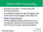 official und provost blog
