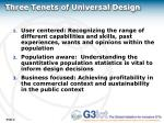 three tenets of universal design