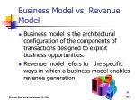 business model vs revenue model