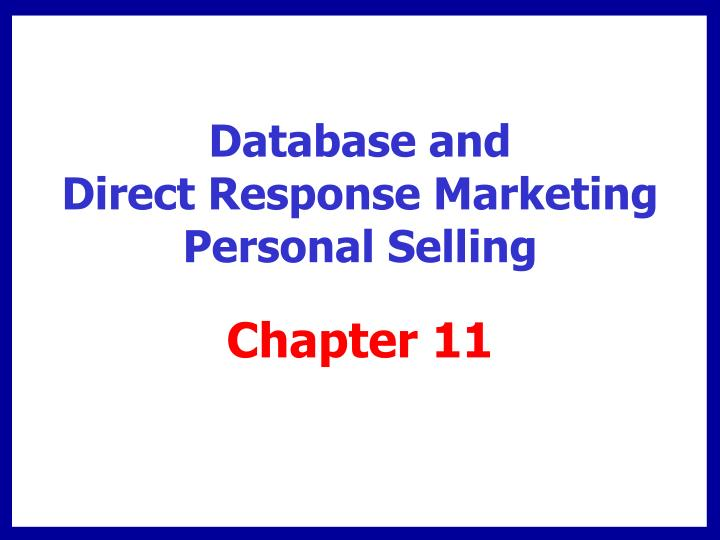 database and direct response marketing personal selling n.