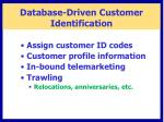 database driven customer identification