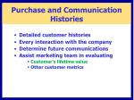 purchase and communication histories