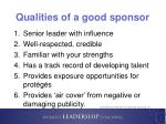 qualities of a good sponsor