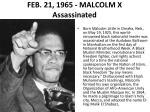 feb 21 1965 malcolm x assassinated