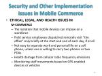 security and other implementation issues in mobile commerce1