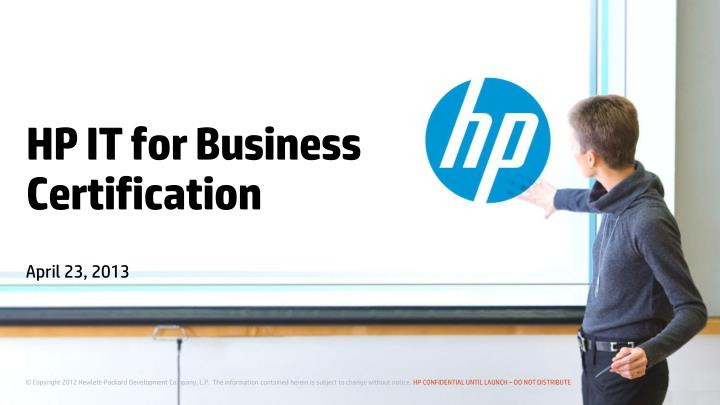 hp it for business certification n.