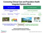 connecting clinical care and population health integrated systems work