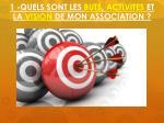 1 quels sont les buts activites et la vision de mon association