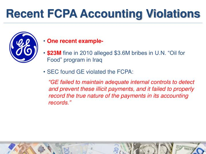 recent fcpa accounting violations