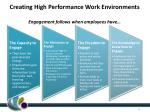creating high performance work environments engagement follows when employees have