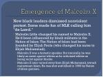 emergence of malcolm x