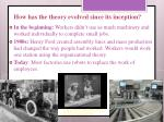 how has the theory evolved since its inception