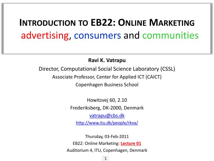 introduction to eb22 online marketing advertising consumers and communities n.