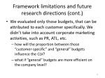 framework limitations and future research directions cont