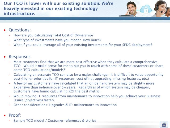 Our TCO is lower with our existing solution. We're heavily invested in our existing technology infrastructure.