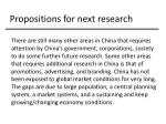 propositions for next research