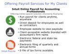 offering payroll services for my clients