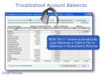 troubleshoot account balances