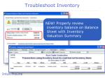 troubleshoot inventory