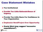 case statement mistakes