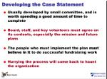 developing the case statement
