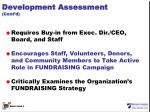 development assessment cont d