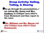 group activity selling telling sharing