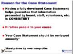 reason for the case statement