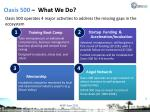 oasis 500 what we do