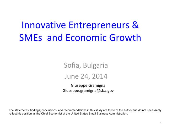 Innovative entrepreneurs smes and economic growth