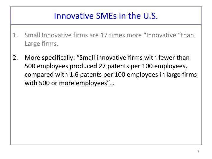 Innovative SMEs in the U.S.