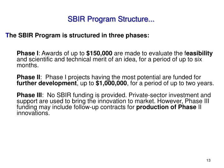 SBIR Program Structure...