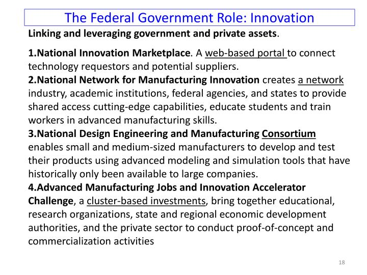 The Federal Government Role: Innovation