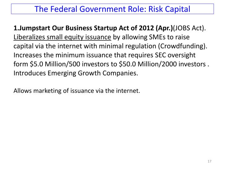 The Federal Government Role: Risk Capital
