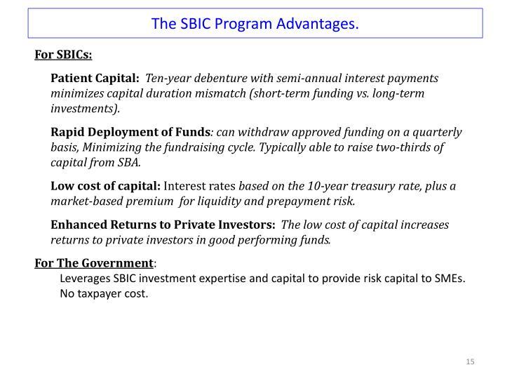 The SBIC Program Advantages.