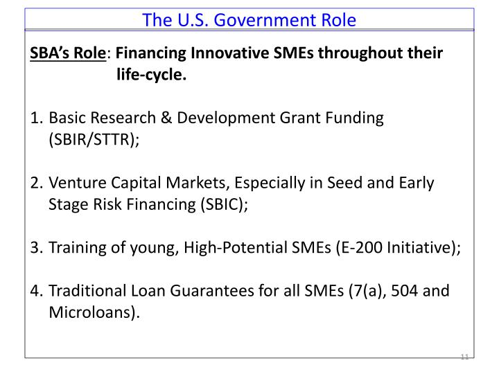 The U.S. Government Role