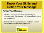 know your skills and refine your message1