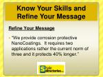 know your skills and refine your message4