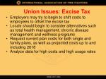 union issues excise tax