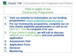 how to apply to our community programme