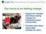 our focus is on lasting change
