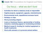 our focus what we don t fund