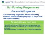 our funding programmes