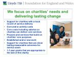 we focus on charities needs and delivering lasting change